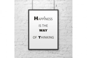 Plakat 50x70 cm HAPPINESS IS THE WAY OF THINKING biały